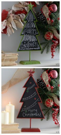 Leave a special, festive note for your guests on these cute little Christmas Tree Chalkboards!