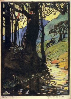 """I fell in love with woodblock prints by Frances Gearhart after seeing a 2010 exhibition at the Pasadena Museum of California Art.  This 1919 print is called """"After the Rain."""""""