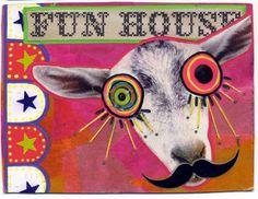 Fun goat from Tracey in Denver, made in the iHanna DIY postcard swap 2013 #diypostcardswap #mailart