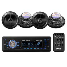 Pyle PLMRKT14BK Stereo Radio Headunit Receiver & Speaker Kit, Aux (3.5mm) MP3 Input, USB Flash & SD Card Readers, Remote Control, Includes (4) Waterproof 6.5'' Speakers, Single DIN (Black)