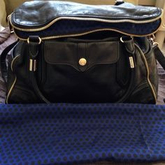 HP Rebecca Minkoff Black Leather Bag Beautiful black leather bag with gold zipper details. Excellent condition, clean inside and out. Comes with dust bag Rebecca Minkoff Bags Totes