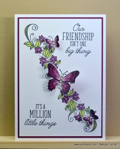 Beauty Abounds (JanB Cards) Stampin' Up! Ideas Scrapbook, Scrapbook Cards, Scrapbooking Layouts, Handmade Birthday Cards, Greeting Cards Handmade, Butterfly Cards Handmade, Butterfly Birthday Cards, Butterfly Crafts, Stampin Up