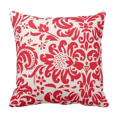 Floral Damask | Red Throw Pillow
