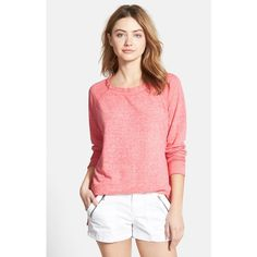 Stem Long Sleeve Raglan Tee ($68) ❤ liked on Polyvore featuring tops, t-shirts, pink shell, red tee, red top, red t shirt, pink top and relax t shirt