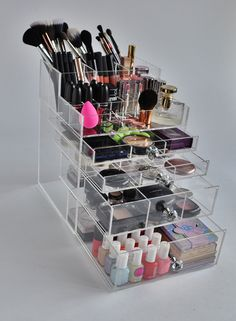 "Clear Acrylic 5 Tier Makeup Organizer with Brush Holder ""GlitzBox"" Crystal Knobs"
