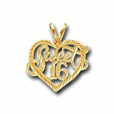 14K Solid Yellow Gold Sweet 16 Heart Charm Pendant IceNGold. $99.95