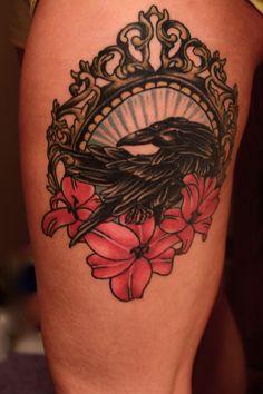 "Thigh piece tattoo. ""Consider the Raven"""