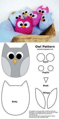 New sewing pillows patchwork ideas Ideas Owl Fabric, Fabric Crafts, Sewing Crafts, Sewing Projects, Owl Patterns, Patchwork Patterns, Sewing Patterns, Patchwork Ideas, Patchwork Kitchen