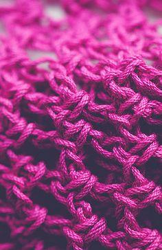 The PERFECT raspberry yarn with just a little sheen. Kristen Lehmann