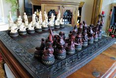 Large Adult Erotic Chess Set Painted Base Board by litttleme1969