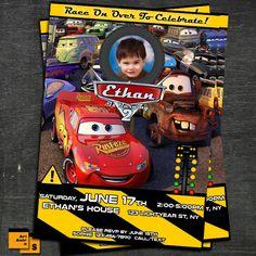 CARS, CARS, cars birthday invitation, lightning mcqueen invitation, Mc queen invitation /S5 by ArtAmoris on Etsy