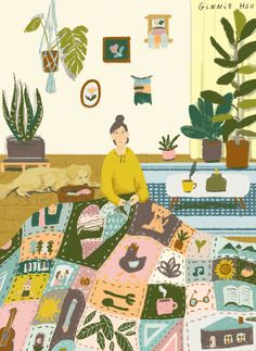 I couldn't think of a better way to close out the week (and January, the seemingly looongest month of the year!) than with these delightful paintings by illustrator Ginnie Hsu. Suddenly, a weekend a home,… Cute Illustration, Graphic Design Illustration, Gifs, Pictures To Paint, Cute Art, Art Inspo, Folk Art, Character Design, Artsy