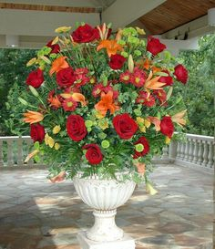Large Arrangement Featuring Roses, Lilies and Daisies