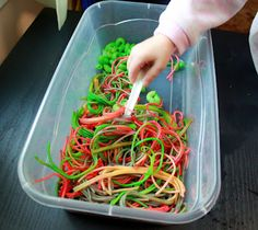 Oral sensory activity for kids using dyed pasta