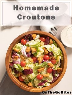How to make our easy quick homemade crouton recipe with only five ingredients and 20 minutes. Add crunch to salads soups or chilis. Make with white French bread sliced bread or any bread you have on hand. Baked and healthy. Nutritious Meals, Healthy Snacks, Healthy Eating, Dinner Recipes Easy Quick, Easy Weeknight Meals, Fast Dinners, Lunches And Dinners, Crouton Recipes, Salad Toppings
