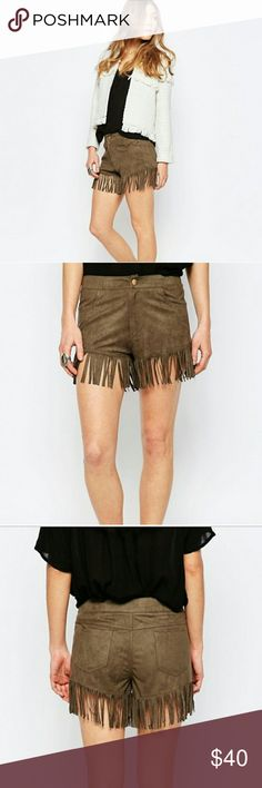 NWT ASOS | FESTIVAL SHORTS Boho chicks, complete your Coachella outfit now with these adorable fringed shorts!  * ASOS by Liquorish * Color: Khaki * Soft faux-suede material  * High waisted * Zip fly * Functional pockets * Fringed hem * 100% Polyester | Machine washable  * Plz ask for measurements  * Brand new with tags   Reasonable offers always considered. Over 175 items listed so bundle to save more! Ask for a quote anytime. ASOS Shorts