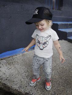 Leon wearing our Organic Fox t-shirt and pants. freeandwildchild.com