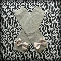 Plain Solid Gray Leg Warmer For Baby and Toddler Girls, Matching Grosgrain Bow, Grey Dress Up Socks Legwarmer Photo Prop Clothing Accessory by BellaBumbleBee