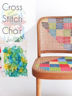 DIY cross stitched chair  Gives me new interest in thrifted caned chairs.