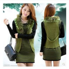 #aliexpress, #fashion, #outfit, #apparel, #shoes 2014, #<font><b>Women</b></font>, #Long, #Cardigan, #Knit, #Sweater, #Two-pieces, #Rabbit, #Fur, #Collar, #Cashmere, #Striped, #<font><b>Dress</b></font>,Autumn, #&Winter, #Clothes, #For, #Lady, #S383 http://s.click.aliexpress.com/e/JqNnAemqb