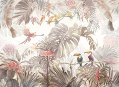 A popular, high-quality wall mural. Photowall is a leading online wallpaper company that always offers high customer satisfaction and fast and free US delivery. Tropical Wallpaper, Bird Wallpaper, Wallpaper Samples, Trendy Wallpaper, Custom Wallpaper, Mural Floral, Flower Mural, Create Your Own Wallpaper, Standard Wallpaper