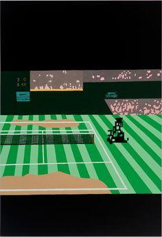 JONAS WOOD SEPTEMBER 12 - OCTOBER 19, 2013 Wimbledon L, 2013  Oil and acrylic on linen  88 x 60 inches  Courtesy Anton Kern Gallery, New Yor...