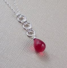 Sterling Silver Red Quartz Necklace Chalcedony by ZionShore
