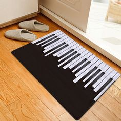 Piano Pattern Indoor Outdoor Area Rug - BLACK WHITE W20 INCH * L31.5 INCH