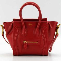 Red Celine Luggage Tote Mini Calfskin Bag,$400