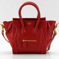Red Celine Luggage Tote Mini Calfskin Bag,$400
