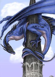 Collab: Guardian by *Windie Dragon on deviantART Dragon Medieval, Cool Dragons, Dragon's Lair, Dragon Artwork, Dragon Pictures, Blue Dragon, White Dragon, Mythological Creatures, Magical Creatures