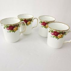 Royal Albert Lot 4 Coffee Mugs Old Country Roses Porcelain China Hurry Now! Porcelain Mugs, China Porcelain, China Mugs, Royal Doulton, Handmade Items, Handmade Gifts, Royal Albert, Fine China, Tea Cups