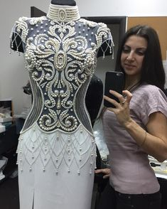 "112 Likes, 9 Comments - Алина Дзахоева (@alisha_embroidery) on Instagram: ""Работа в радость! #embroidery #embroidereddress #fashion #luxury #couture #stars #swarovski…"""