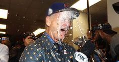 Bill Murray continued to lose it in the Chicago Cubs' locker room after the World Series — watch him get doused in champagne!