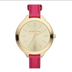 Michael Kors Watch Gold MK face with hot pink band. Super cute - comes with original box/case. Only worn twice! Fr Nordstroms so you can take it there to be cleaned whenever you need to.  Size is adjustable. Michael Kors Accessories Watches