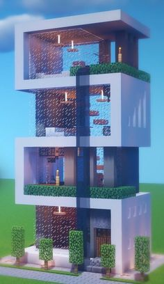 Architecture Minecraft, Minecraft Villa, Cute Minecraft Houses, Minecraft Plans, Minecraft Room, Minecraft Houses Blueprints, Minecraft House Designs, Minecraft Tutorial, Minecraft Crafts
