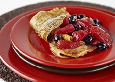 Lacey crepes with a Frangelico berry sauce