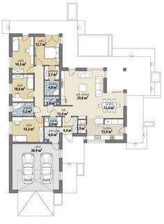 Alabama IV - Dobre Domy Flak & Abramowicz My House Plans, Floor Plants, House Blueprints, Architecture Plan, Modern House Design, My Dream Home, Planer, Villa, Sweet Home