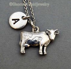 * Cow/Cattle charm in Antique Silver Pewter. Approx: 3/4 X 1/2 Lead free pewter charm made in U.S.A.    * Hand Stamped Initial Charm -
