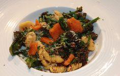 Chef Luke Holder creates a pasta recipe (Orecchiette) with, purple sprou...