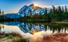 Lataa kuva Amerikassa, Mount Baker, tulivuori, river, sunset, Washington, USA