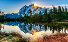 Herunterladen hintergrundbild amerika, mount baker vulkan, fluss, sonnenuntergang, washington, usa