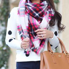 Express plaid blanket scarf, Ann Taylor polka dot sweater, Tory Burch mini Robinson Tote, Banana Republic navy Sloan pants - Fall outfit // StylishPetite.com