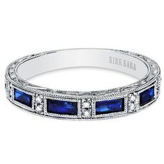 Kirk Kara 18 Kt White Gold Diamond & Blue Sapphire Wedding Band from the Charlotte Collection with Sapphire Baguettes and Carats Diamonds. Sapphire Band, Sapphire Wedding, Sapphire Jewelry, Diamond Bands, Diamond Wedding Bands, Blue Sapphire, Diamond Engagement Rings, Diamond Cuts, Diamond Jewelry