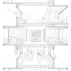 Flexible Housing Section by Croquis Architecture, Detail Architecture, Architecture Graphics, Architecture Board, Interior Architecture, Architecture Drawing Plan, Architecture People, Interior Design, Sectional Perspective