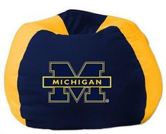 The Northwest Company Michigan Wolverines Bean Bag Chair Michigan Gear, Michigan Go Blue, Bean Bag Furniture, Football Bedroom, Cool Bean Bags, Cheap Adirondack Chairs, Oversized Chair And Ottoman, Kids Bookcase, Guy Friends