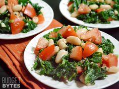 Marinated Kale, White Bean, and Tomato Salad - Budget Bytes