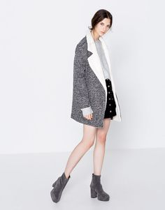 Pull&Bear - woman - clothing - coats and jackets - knit coat with faux-fur lapels - grey - 09750314-I2016