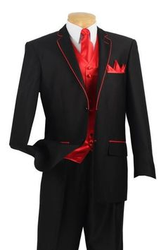 Custom Made To Measure men suit,BESPOKE black tuxedo with red edge and red vest
