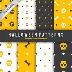 Padrões de Halloween em cores amarelas, pretas e brancas Vetor grátis